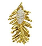 Real Leaf Redwood & Pine Cone COMBO PENDANT in 24k Yellow Gold / Silver - Zhannel  - 1
