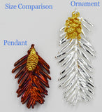 "Real Leaf & Cone REDWOOD Christmas Ornament 3.5"" In Silver & Gold Cone - Zhannel  - 3"