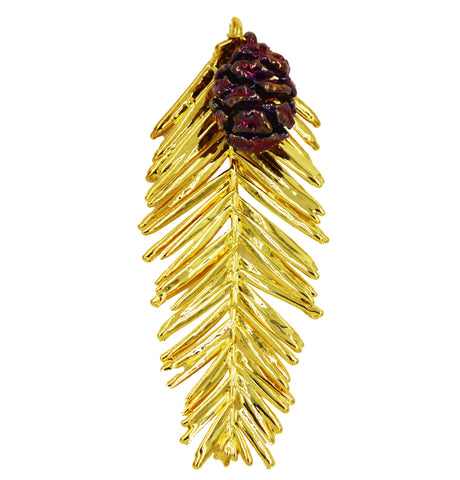 "Real Leaf & Cone REDWOOD Christmas Ornament 3.5"" in Yellow Gold & Copper - Zhannel  - 1"