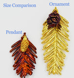"Real Leaf & Cone REDWOOD Christmas Ornament 3.5"" in Yellow Gold & Copper - Zhannel  - 3"