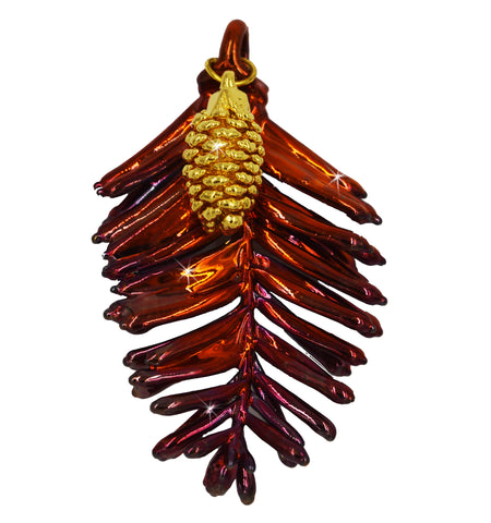 Real Leaf Redwood & Pine Cone COMBO PENDANT in Copper /24k Yellow Gold - Zhannel  - 1