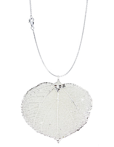 Real Leaf PENDANT with Chain ASPEN Dipped in Silver Genuine Leaf Necklace - Zhannel  - 1