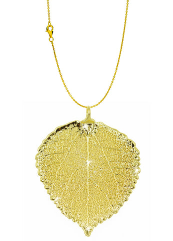 Real Leaf PENDANT with Chain ASPEN Dipped in 24k Yellow Gold Necklace - Zhannel  - 1