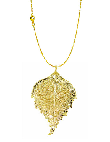 Real Leaf PENDANT with Chain BIRCH Dipped in 24K Yellow Gold Necklace - Zhannel  - 1
