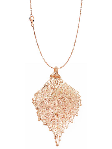 Real Leaf PENDANT with Chain BIRCH Dipped in Rose Gold Genuine Leaf Necklace - Zhannel  - 1