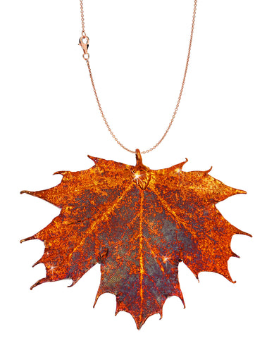 Real Leaf PENDANT with Chain Sugar Maple in Copper Necklace - Zhannel  - 1