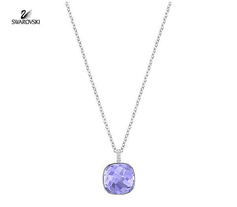 Swarovski Purple Square Clear Pave Crystal Pendant Necklace DOT #5158514 - Zhannel  - 1