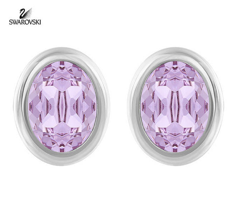 Swarovski Violet Crystal Pierced Studs Earrings LASER Rhodium #5101253 - Zhannel