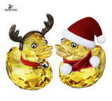 Swarovski Christmas Crystal Figurines HAPPY DUCK SANTA & REINDEER #5004497 - Zhannel  - 1