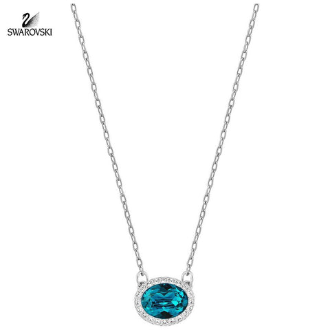 Swarovski Aqua Crystal Jewelry CHRISTIE Necklace Oval Rhodium #5159175 - Zhannel  - 1