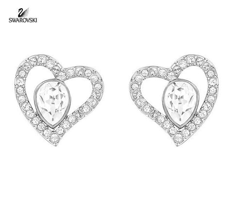 Swarovski Clear Crystal Pierced Earrings Hearts NERINA Rhodium #5101152 - Zhannel