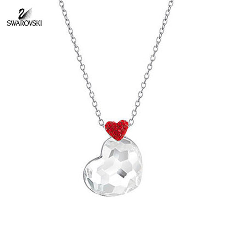 Swarovski Clear Crystal Heart Pendant LODGE Necklace Rhodium #5101215 - Zhannel  - 1