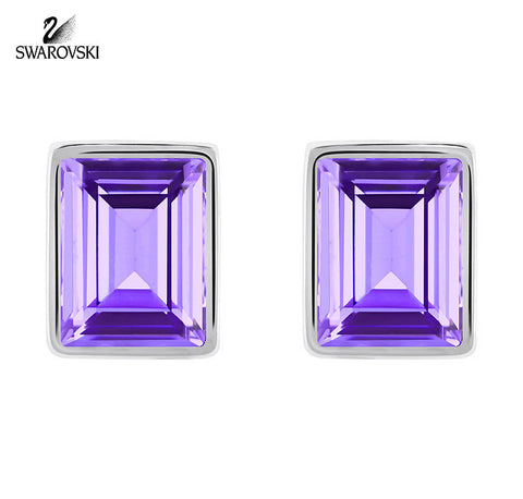 Swarovski Purple Crystal Pierced Earrings EVANESCENT Rhodium #5073018 - Zhannel