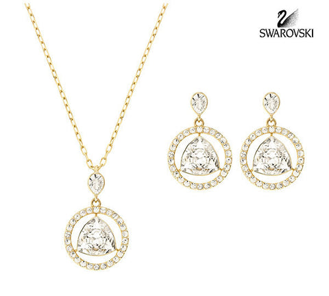 Swarovski Clear Crystal Jewelry Set BACKSTAGE Round Earrings & Necklace #5098512 - Zhannel  - 1