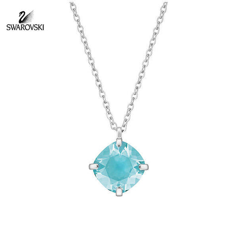 Swarovski Light Turquoise Crystal Jewelry LUCID Pendant Rhodium #5101189 - Zhannel  - 1