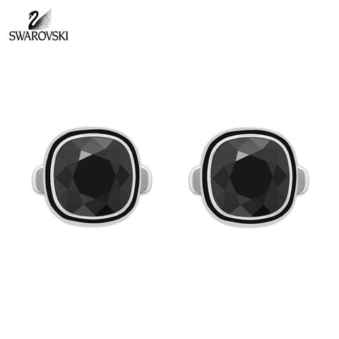Swarovski Men's Cufflinks VERY Jet Black Stainless Steel #5015622 - Zhannel  - 1