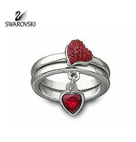 Swarovski Red Crystal Heart Rings EROS Set of 2 XLarge/60/9 #992706 - Zhannel  - 1