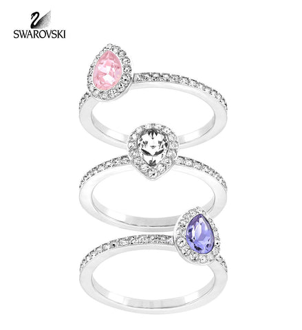 Swarovski Pink/Clear/Lavender Crystal Set of 3 Rings CHRISTIE - Zhannel  - 1