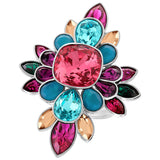 Swarovski Multi Color Crystal Ring CARDINAL Rhodium - Zhannel  - 3