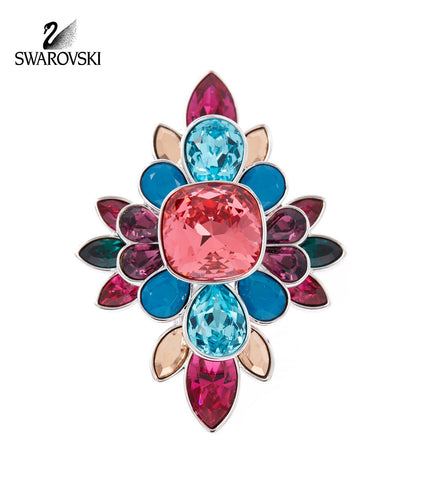 Swarovski Multi Color Crystal Ring CARDINAL Rhodium - Zhannel  - 1