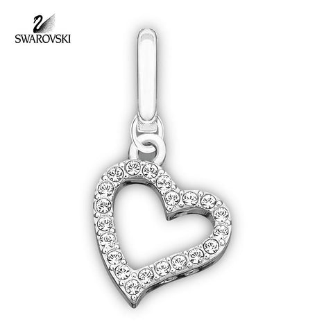 Swarovski Clear Crystal Jewelry LOVE Charm Red Reverse Side Rhodium #973756 - Zhannel  - 1