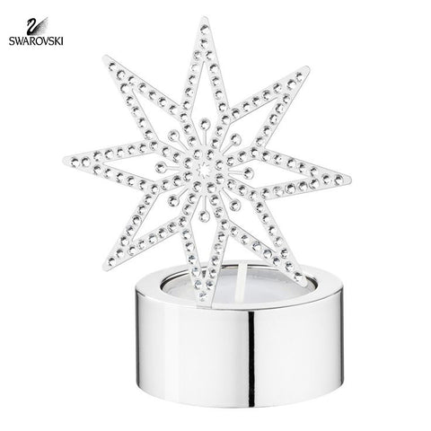 Swarovski Clear Crystal Candle Holder TEA LIGHT SILVER STAR #5030477 - Zhannel  - 1