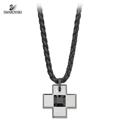 Swarovski Black Jet Crystal Men's Cross Pendant ANTIQUE Necklace #5037629