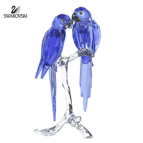 Swarovski Pair of Birds Crystal Figurine Blue Parrots HYACINTH MACAWS #5004730