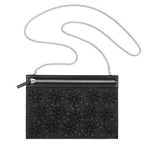 Swarovski Black Crystals FIREWORK BAG Evening Party Bag Stainless Steel #5240635