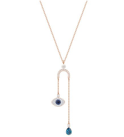 Swarovski Duo Pendant EVIL EYE Y Necklace, Rose Gold -5425861