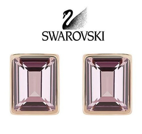 Swarovski Pink Crystal JEWELRY Gold Pierced Earrings EVANESCENT #5073032 - Zhannel  - 1