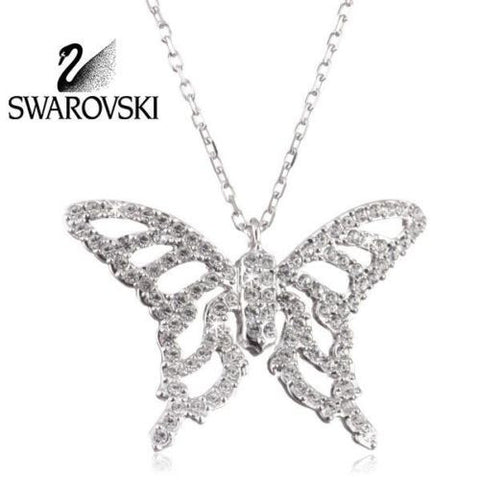 Swarovski Crystal Silver Butterfly Pendant Necklace NIGHTINGALE 1082378 New - Zhannel  - 1