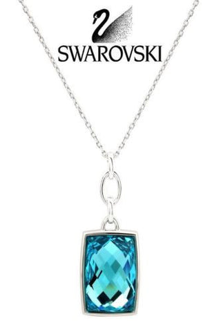 Swarovski Crystal NIRVANA Pendant Necklace Lgt Turquoise Rhodium #5005870 - Zhannel  - 1