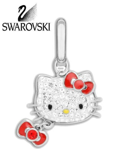 Swarovski Clear Crystal Charm Silver tone HELLO KITTY Bow #1097219 New - Zhannel  - 1