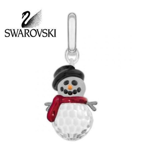 Swarovski Crystal Christmas Charm Rhodium-Plated SNOWMAN #5006462 New - Zhannel  - 1