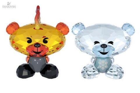 Swarovski Colored Crystal FigurineS Set of 2 Bo Bear FIRE & ICE #5004496 New - Zhannel  - 1