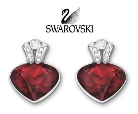Swarovski Red Crystal JEWELRY Pierced Earrings OCEANIC Red #5020053 - Zhannel  - 1
