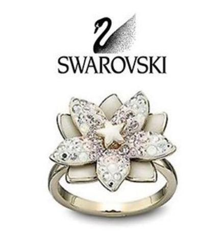 Swarovski LOUELLA Gold Flower RING - Zhannel  - 1