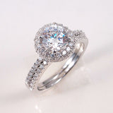 1.5ct Engagement Wedding Set 2 RINGS Signity CZ Pave/Prong Set Sterling Silver
