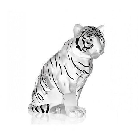 Lalique Sculpture Figurine SITTING TIGER Clear/Black Limited Edition #1219810