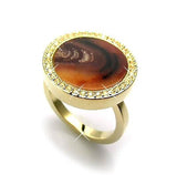 Swarovski Crystal MAESTRO Gold Ring with Tiger Brown Natural Stone
