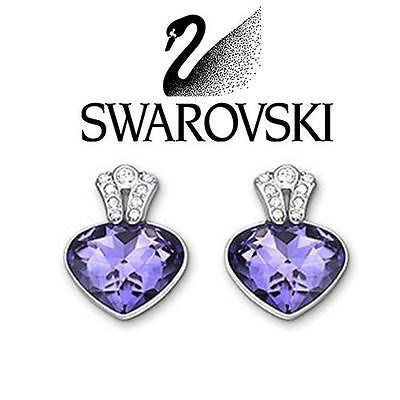 Swarovski Colored Crystal Oceanic Pierced Earrings Tanzanite #5020051 New - Zhannel  - 1