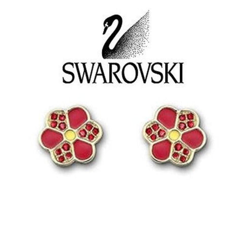 $60 Swarovski Crystal Naive Red Pierced Earrings Gold-plated Studs #1084523 New - Zhannel