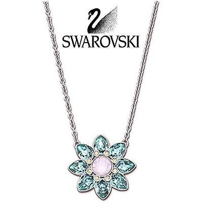 Swarovski Blue Crystal Silver ADORN Pendant Necklace #5037568 New - Zhannel  - 1