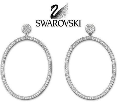 Swarovski Clear Crystal Silver tone VI OVAL Pierced Earrings #5017154 New - Zhannel  - 1