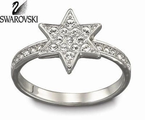 Swarovski Clear Crystal Silver Pleasure STAR Ring Sz 58 Large 8 #1106485 - Zhannel