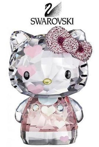 $600 Swarovski Crystal Figurine HELLO KITTY HEARTS 2012 #1142934 Box - Zhannel