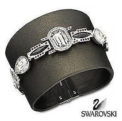 "Swarovski Black ""Pony"" leather w/ Crystals Bracelet Cuff 1110335 - Zhannel  - 1"