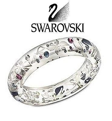 Swarovski Swanflower Thin Clear Blue Bangle Bracelet #1127500 - Zhannel