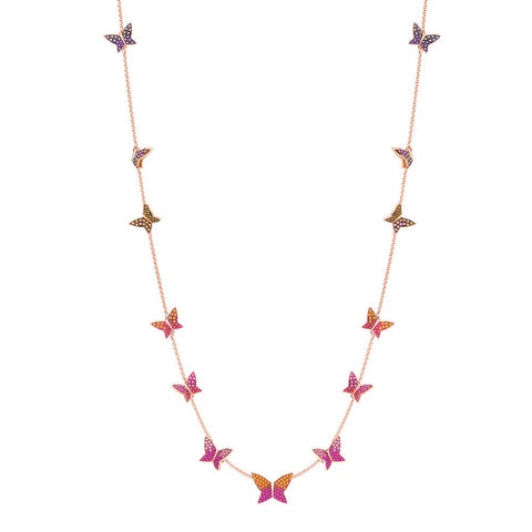 Swarovski Necklace w/ Butterflies LILIA STRANDAGE, Multi Color, Rose Gold - 5374335